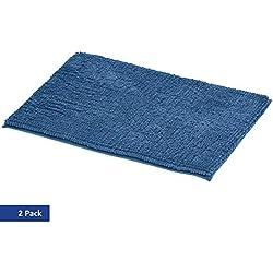 AmazonBasics Tapis de bain en mousse à mémoire de forme et maille chenille, Bleu, 50 x 80 cm, Lot de 2