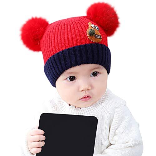 Sanahy baby Mützen Mädchen Winter,Mützen Kinder Strickmütze mit Bommel Perle Gestrickte Häkeln Beanie Wollmütze Jungen Mädchen Warme Babymützen
