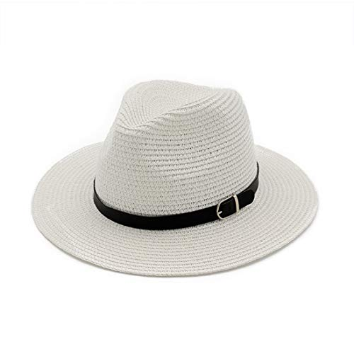 Summer Beach Brimmed Sun Hat Damen und Herren Floppy Strohhut Hut (Farbe : White, Size : Adjustable) White Beach Hut