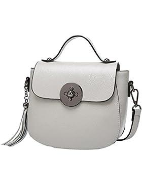 Ladie Mini Quasten Top-Griff Handtaschen-Schulter Crossbody-Tasche Für Frauen Multicolor