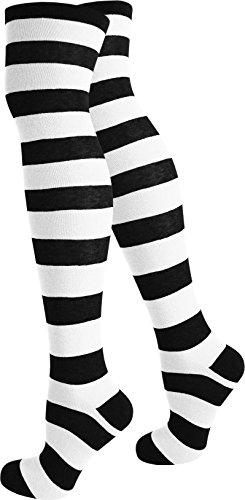 normani® Damen Overknees Über-Knie Strümpfe geringelt in verschiedenen Farben Farbe (Streifen Weißen Schwarzen Und Kostüme)