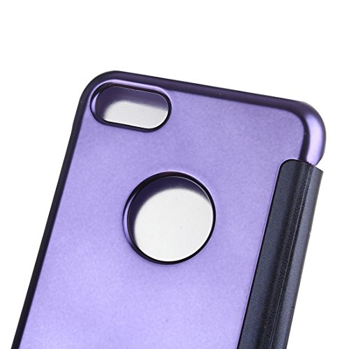 Hülle für iPhone 7 plus , Schutzhülle Für iPhone 7 Plus Überzug Spiegel Horizontale Flip Leder Tasche ,hülle für iPhone 7 plus , case for iphone 7 plus ( Color : Purple ) Purple