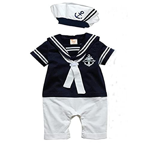 Ouneed 1Set Infant Boys romper Hat Cotton Short Sleeved baby
