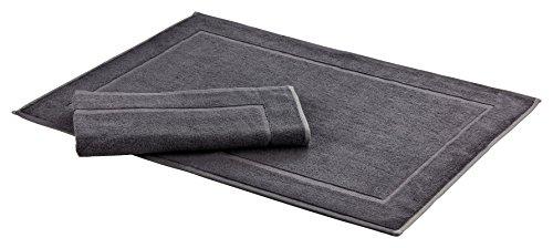 Floringo 2er Set Badvorleger Badematte Sprint 50x70 cm 95° Hotelqualität / weitere Farben erhältlich (dunkelgrau)