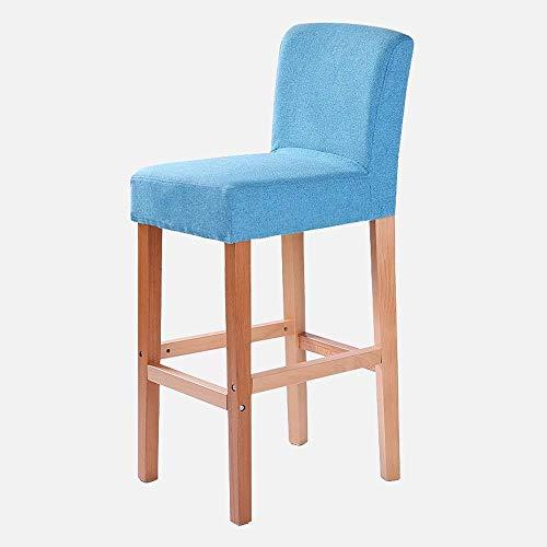 AEXU Retro Holz Stuhl Bar Stuhl Küche Frühstück Stuhl Café Stuhl Hochstuhl (Farbe : Blau) (Grüne Frühstück Kissen)