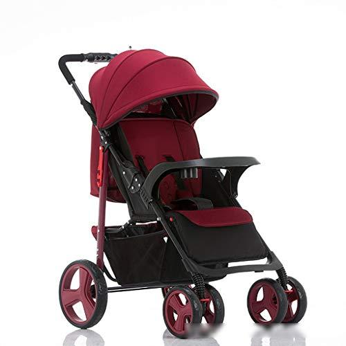 BLWX - Portable léger Ultra léger de Poussette de bébé Peut s'asseoir inclinable Se Pliant Haut Paysage Poussette Poussoir Parapluie Poussette (Couleur : Red)