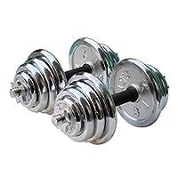 York 30 Kg Chrome Dumbbell Set, Silver