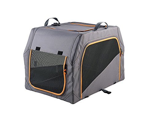 Hunter Hundetransportbox mit Aluminium-Gestell, anthrazit/orange, M