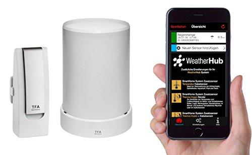 TFA Dostmann Weatherhub Starter-Set, mit Funk-Regenmesser, für SmartHome, gratis Smartphone App, einfach installierbar
