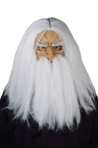 Sorcier Kostüm (Herren Grau Alter Mann Zauberer Sorcier mit bart Gesichtsmaske mit Langes Haar Kostüm Verkleidung)