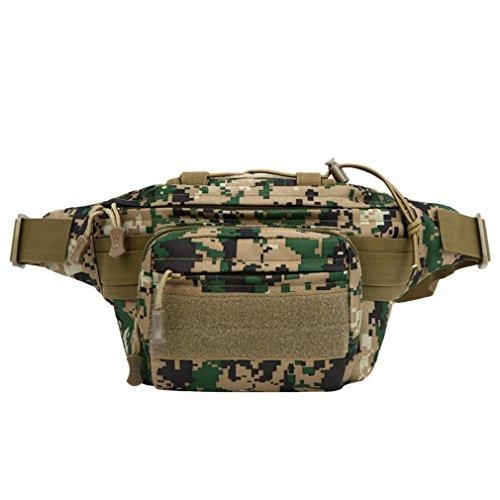 F@Tasche esterne di uomini e donne, petto tattico militare appassionati Pack, sacchetto di nylon impermeabile, viaggi e tempo libero equitazione borsa, Digital Camo, camouflage borsa borraccia , cp ca jungle number