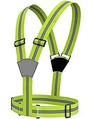 Rightwell Réglable Gilet de Sécurité Réfléchissants élastique Haute Visibilité Réfléchissant Gilet de Sécurité Harnais pour Nuit Courir,Jogging,vélo,Marcher,Mototourisme
