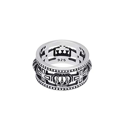Punkring,Vintage Original Sterling Silber 925 Schwert Kreuz Flower Ring Männlich Zeigefinger Persönlichkeit Tide Männliche Mode Hip Hop Star Single Ring Weiblich Tide Marke/Männer Und Frauen Ringen, 2 (Männliche Sterling Silber Ringe)