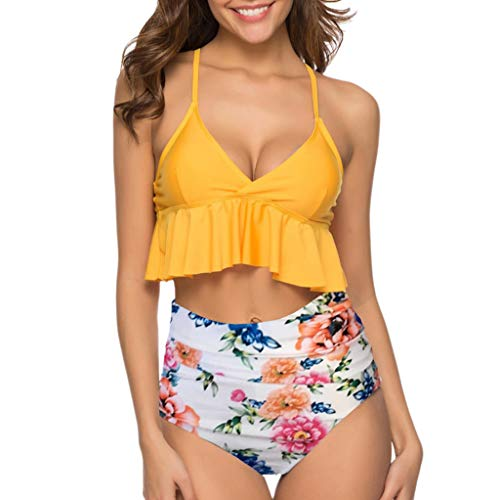 2019 Neu Damen hoch taillierte zwei Stücke Bikini Set,Frauen Sommer Casual Beach Badeanzüge Top Rüschen Bottom Badeanzüge Bademode Beachwear Tankini -