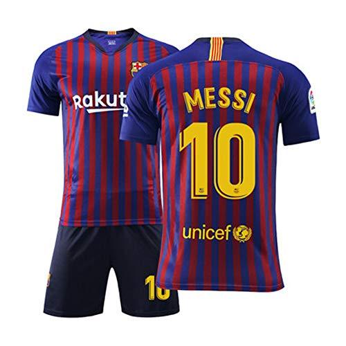FNBA Messi Fußball Trikot # 10 Barcelona Kinder Fußball Trikot Set Shirt Short Shorts Jugendgrößen-A-M(170.175cm)