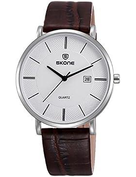 Feoya Herren Uhr Lebens Wasserdicht Business Armbanduhr Leder Armband Uhren Quarzuhr Einfach Stil Herrenuhr mit...