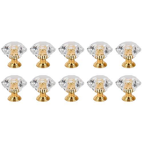 15 Teile/Satz Knob Pull Griff Für Schublade Möbel Verwenden Für Knob Schrank Schublade Armaturen Gold Diamant Kristall Form Acryl -