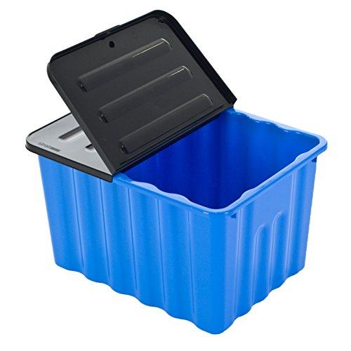 Kunststoffbox mit abnehmbarem und klappbarem Deckel - 70 Liter Volumen - geschwungene Form! XXL Stauraum in tollem Azurblau mit grauem Deckel und leicht glänzender Ausführung! Zweck Truhe Box