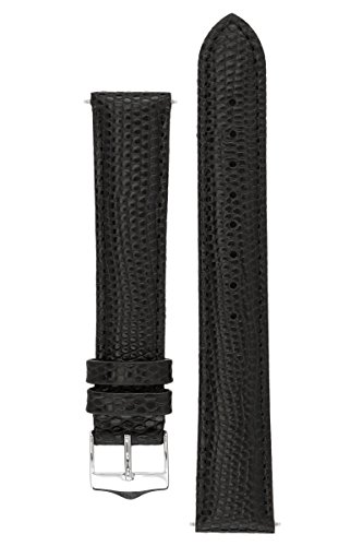 Signature Dragon watch band. Replacement watch strap. Genuine leather. Silver Buckle (Nero, 22 mm - extra-lungo)