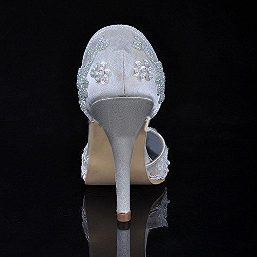 Kevin Fashion ,  Damen Modische Hochzeitsschuhe Style1-Ivory