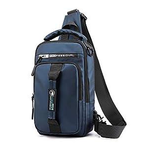 FeiBeauty Herren Brusttasche Sling Rucksack Schultertasche Brusttaschen Outdoor Oxford USB Vielseitig Umhängetasche Wasserdicht Khaki, Grau, Blau, Schwarz Größe: 30 cm / 11,8″× 18 cm