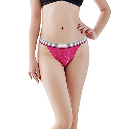YSFWL  Damen Slips Soft Unterhosen Panties Hipster Mit Spitze Strings Tangas Reizvoller Offen Schritt Niedrige Taille Unterwäsche Sexy Lace Briefs Thongs G-String Dessous (Hot Pink) -