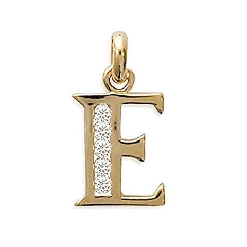 "ISADY - Shine Gold "" E "" - Pendentif - Initiale Lettre Alphabet - Plaqué Or 750/000 (18 carats)"