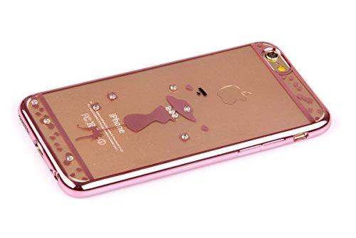 """Coque pour iPhone 6 Plus 5.5"""", Etui pour iPhone 6S Plus 5.5"""", ISAKEN Bling Strass Cristal Rose Or Transparente Mince Souple TPU Silicone Etui Housse de Protection Coque Étui Case Cover pour Apple iPho Rose Fille Chapeau"""