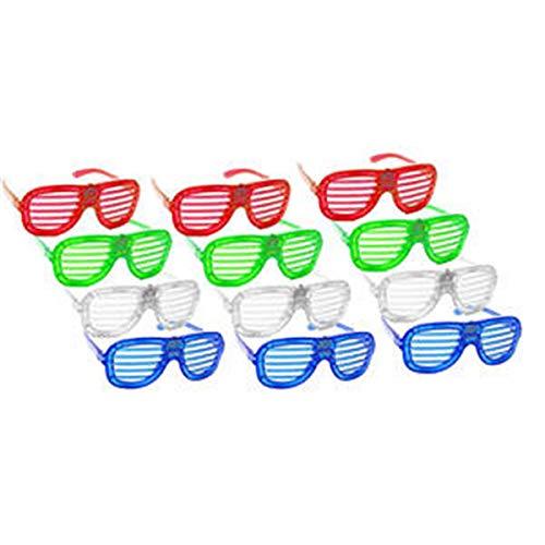 Pingxia 12er Set Partybrille, Scherz-Brille & karnevalbrille - ideale Shutter Shades Sonnenbrille & Retro-Brille als Partyartikel, Scherzartikel, für Junggesellenabschied & Mottoparty