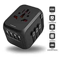 Universal Travel Adapter, International Power Adapter with 4 USB Ports, annen Upgraded European Adapter, All-in-one AC Outlet Plug Travel Charger Wall Socket for Europe,Asia,US,UK,AUS (Black)