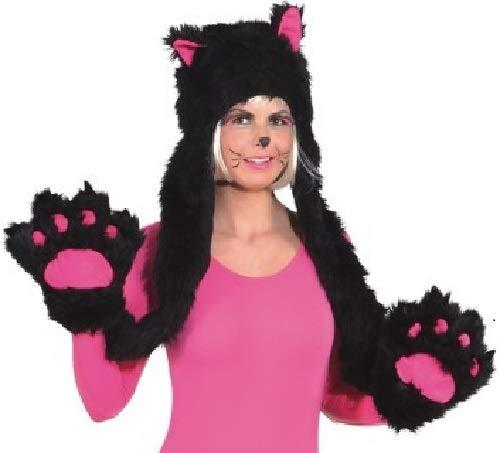 Fancy Me Kostüm mit Fäustlingen für Erwachsene, Schwarz/Rosa