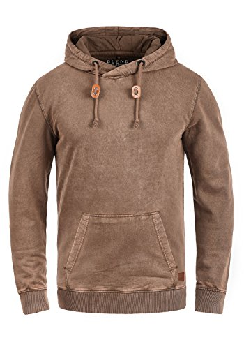 BLEND Natsu Herren Kapuzenpullover Hoodie Sweatshirt aus 100% Baumwolle, Größe:L, Farbe:Coffee Brown (75103) (Jeans Wash Brown)