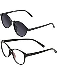 Vast Combo Of 2 UV Protection Full Rim Spectacle Frame And Double SHADED Retro Round Unisex Sunglasses (BLKBLUE_BLKGUN)