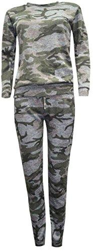 Janisramone Da Donna Nuovo Tinta Unita Maglia Tuta Ragazzo, con stampa mimetica da donna Jogsuit Army Khaki Grey