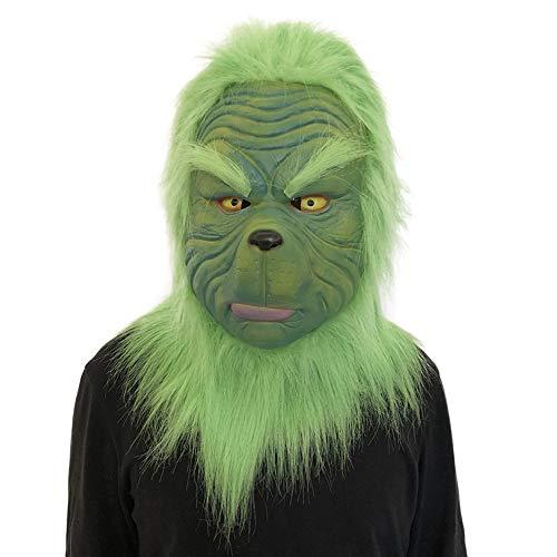 TianranRT Cosplay Grinch, Maske Schmelzen Gesicht Latex Kostüm Sammlerstück Requisite Unheimlich Maske - Grinch Kostüm Kind