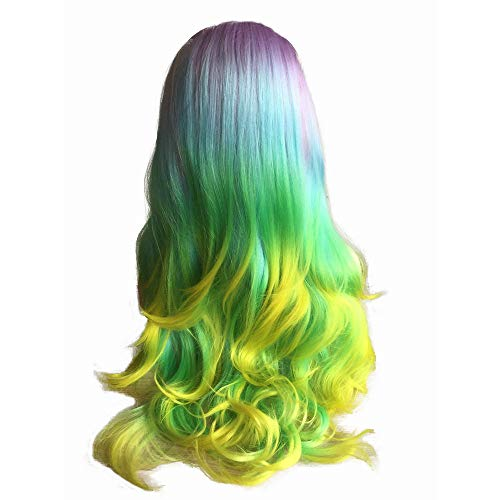 Mermaid Hair Pastel Purple Blue Green Yellow Synthetic Lace Front Wigs for Women Flawless Drag Queen Makeup Hair Long Colorful Wig 24