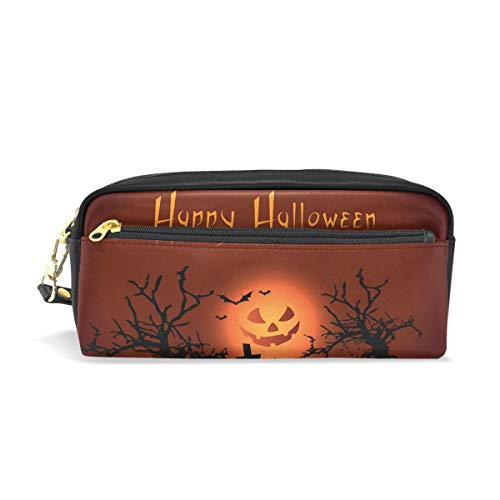 imobaby Happy Halloween Night Tragbare Tasche PU Leder Schultasche Stifteetui Stationäre Bleistifttasche für Kinder Wasserdicht Kosmetik Tasche Make-up Beauty Case