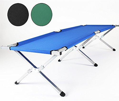 TRESKO XXL Lettino letto brandina da campeggio XL camping 190 x 64 x 44 cm tubo di metallo - capacità fino a 150 kg che trasportano - in diversi colori (Nero)