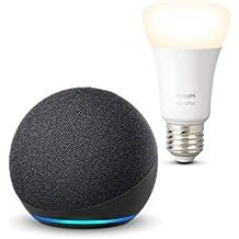 Nuevo Echo Dot (4.ª generación), Antracita + Philips Hue Bombilla Inteligente (E27), compatible con Alexa