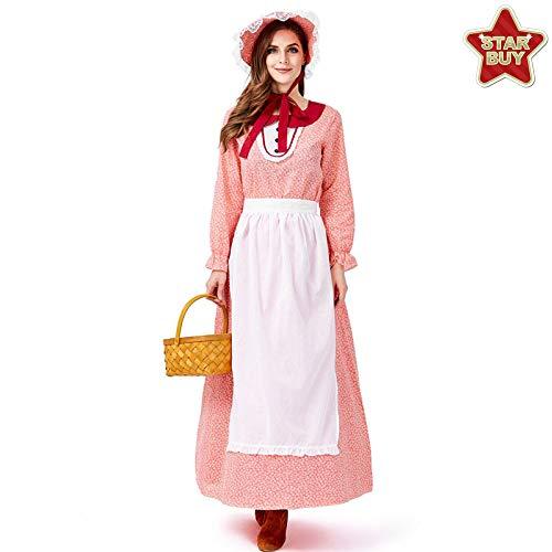 19 Jahrhundert Kostüm Kleid - COSOER 19. Jahrhundert Frauen Cosplay Kostüm Halloween American California Farm Clothing,Red-L
