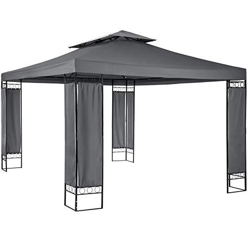 TecTake Luxus Pavillon Partyzelt Gartenzelt Eventpavillon 390x290x265 cm | Stoffbezogene Eckelemente - Diverse Farben - (Anthrazit | Nr. 402463)