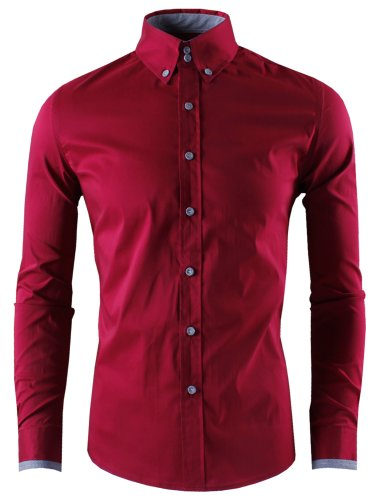 HRYfashion -  Camicia da cerimonia  -  Vestito modellante  - Basic - Con bottoni  - Maniche lunghe  - Uomo Vino
