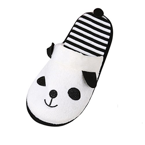 Longra ciabatte in cotone, carta da parati in velluto corallo cartoon panda modello invernale home pantofole piatte calde (eu size:38, bianco)