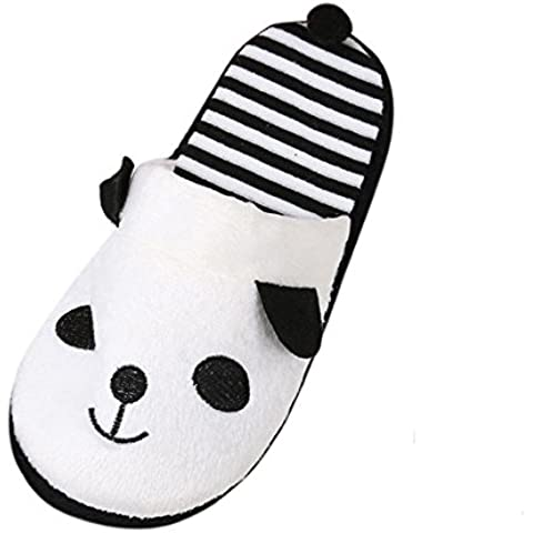 Ularma Algodón de zapatillas, Zapatillas de casa de dibujos animados Panda raya suave
