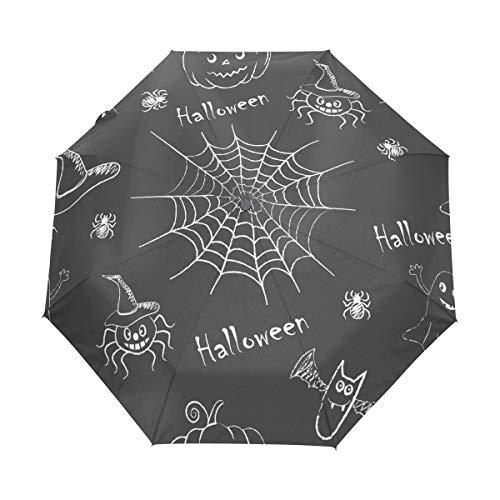 Regenschirm anpassen 3 Falten Hexe Kürbisse Spinnen Fledermäuse Lächeln Winddicht Auto Open Schließen Leichtgewichtler UV (Sticks Regenschirm Drink)