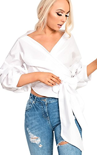 womens-ladies-ruffle-sleeve-wrap-tie-front-shirt