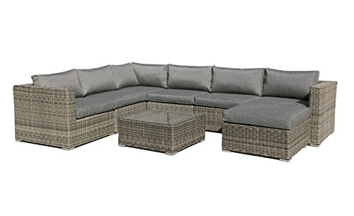 Sofa Modular Lounge Rattan Color Gris Maui