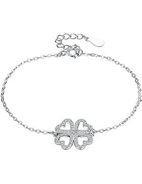 Arco Iris Schmuck Sterling Silber Klee Herz mit Zirkonia Armband für Frauen und Mädchen - sy007b1