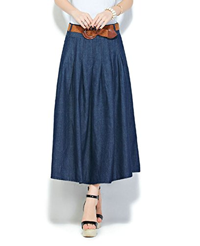 Slim denim skirt pleated A-line big swing Long skirt for sale  Delivered anywhere in UK