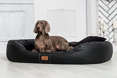 TIERLANDO® Nonplusultra Lennart orthopädisches Hundebett mit Visco Plus | Kunstleder | Premium-Lounge! Gr. XXXL 170 cm Schwarz -